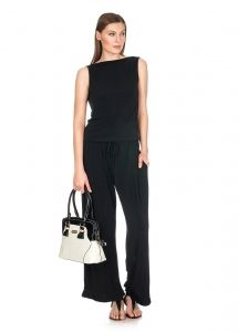 Lucia black Cowlneck reversible top / Franchesca Black wide leg pants  - Shop now - http://shop.mylookinstyle.com/lucia-franchesca-look-black/
