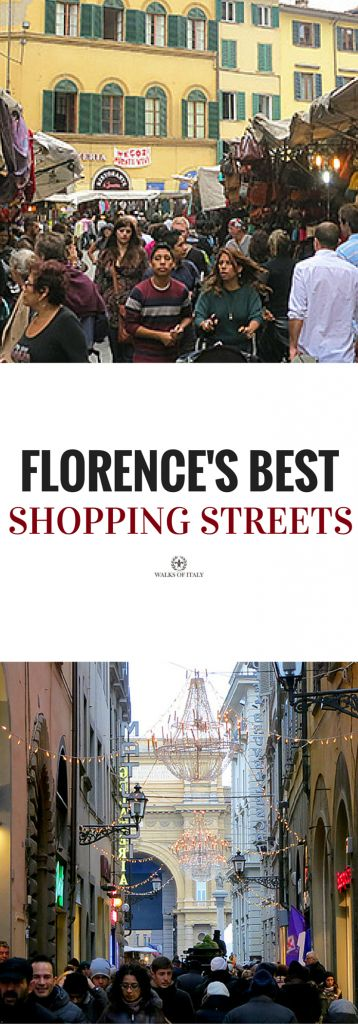 The 4 best streets for shopping in Florence include the San Lorenzo Market and the Via del Corso.