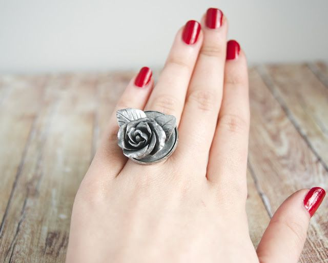 winter polymer clay rose