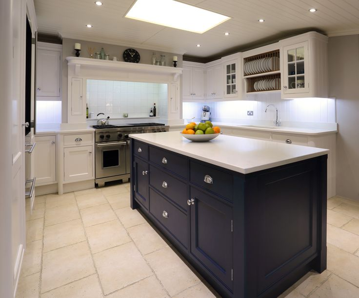Central Island painted in Antwerp Blue and Quartz composite worktop
