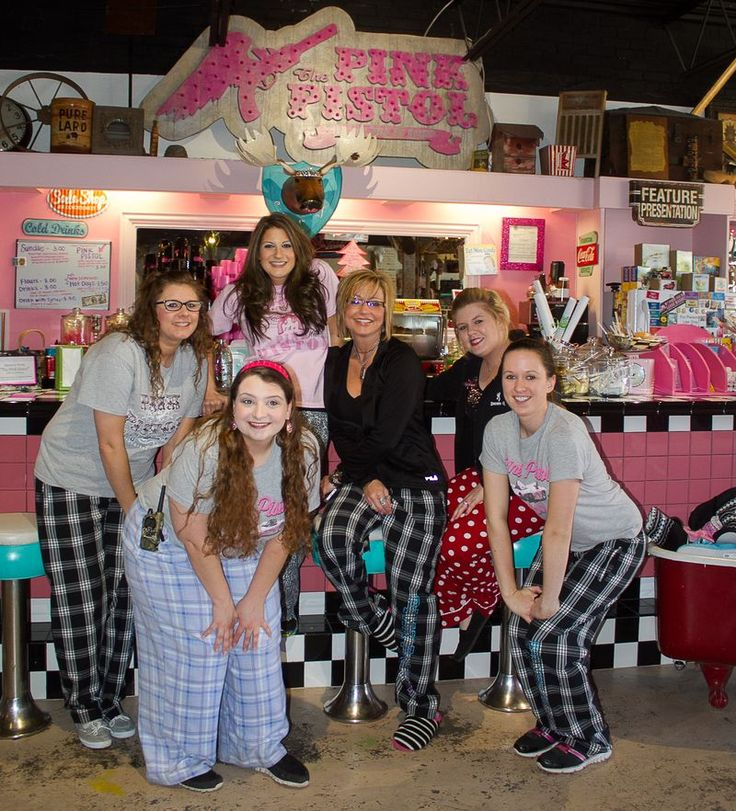 The Pink Pistol employees on Pajama day in Tishomingo