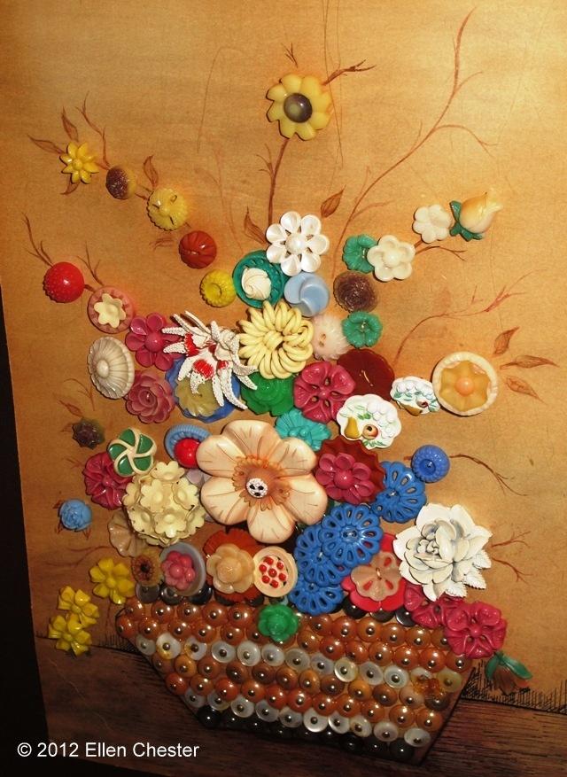 Button Art Picture Flower Bouquet Craft DIY