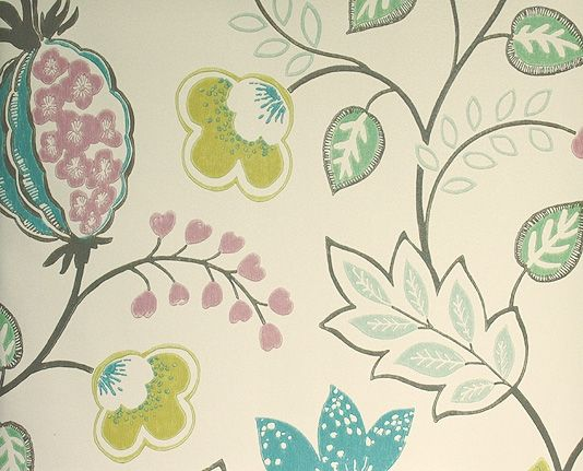 Benvarden Wallpaper Cheerful contemporary floral wallpaper in teal, pink and citrus on a cream background