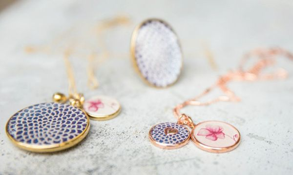 Kaleidoscope Sky Collection // Kirstin Ash Jewellery [gold, rose gold, scallop, flower, petals, flower, heart, necklace, ring, pendant, chain, blue, navy, pink] Kaleidoscope Blog