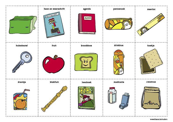 BOEKENTASPLANNER: Wat moet er in de boekentas? Schoolagenda, pennenzak. Op woensdag ook de huissleutel. Op vrijdag de zwemzak. Deze boekentasplanner leert je kind zelfstandig zijn boekentas maken.