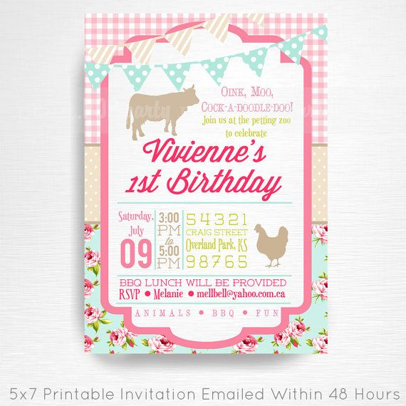 Shabby Chic Girl Vintage Farm Birthday Party Printable Invitation YOU Print Pink Blue Floral