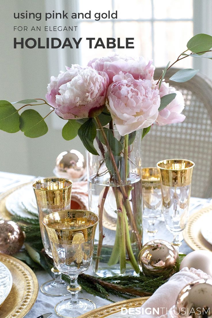 Elegant Christmas Table Setting With Pink And Gold Christmas Table Settings Christmas Table Holiday Table Settings