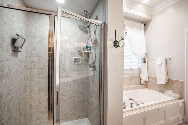 Master Bath garden tub & stand-up shower  2287 Glebe Street Carmel IN 46032  Village of WestClay $599900 http://glebe.callmatt.in  Courtesy of FC Tucker Co.  #talktotucker #fctucker #callmatt #realtor #luxuryrealestate #realestate #indyrealestate #villageofwestclay