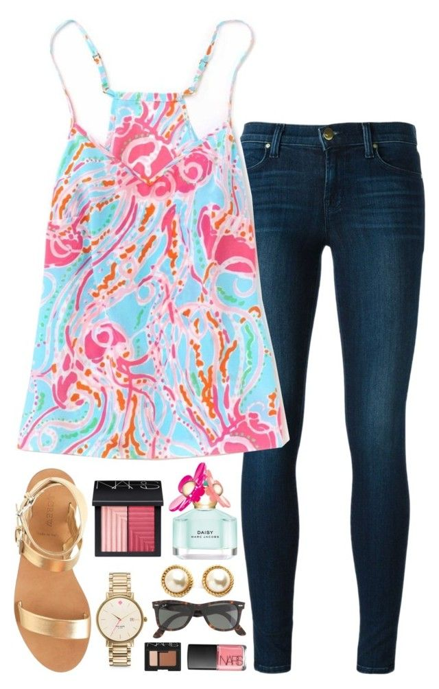 """""""out to eat in Lilly"""" by okieprep ❤ liked on Polyvore featuring J Brand, Kate Spade, NARS Cosmetics, Ray-Ban, Marc Jacobs, J.Crew, aweekatthebeachcontest and preppyallweek"""
