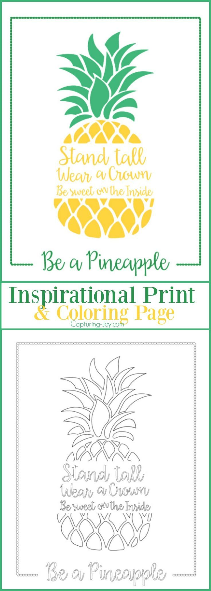 Coloring pages with quotes - Be A Pineapple Inspirational Print And Coloring Page