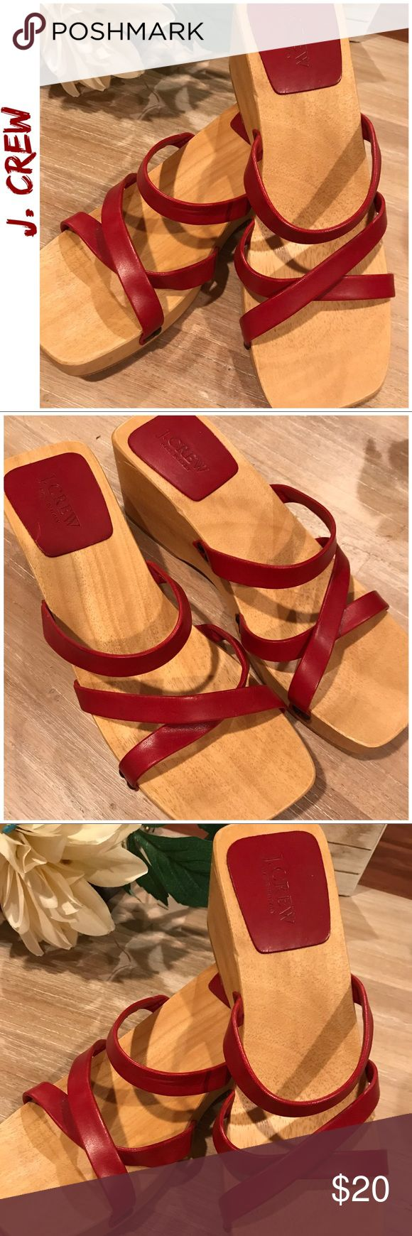J. Crew Red Leather Wooden Sandal Clogs- Amazing! I fell in love with these the instant I laid eyes on them. Although I am a size 8, I have a wide foot,  so to my dismay and after months of staring hopelessly at them , I have to say goodbye! I am happy to know that some lucky lady will snatch them up and be able to enjoy them. Authentic leather , REAL wood. Perfect wedge heel and there is still plenty of time to show off that pedicure! Some minuscule knicks in the wood but barely noticeable…