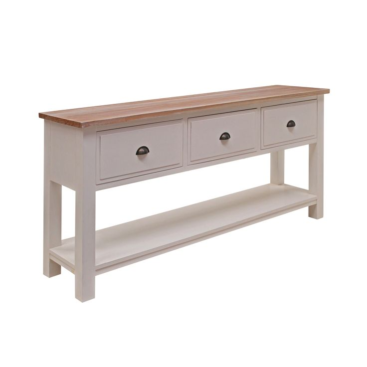 3 Drawer Wooden Console | Temple & Webster
