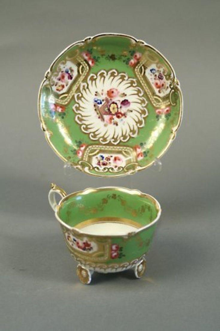 664: A Daniel tea cup and saucer, C-scroll shape,