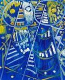 Egill Jacobsen - Blue masks, 1956, Oil on canvas on MutualArt.com
