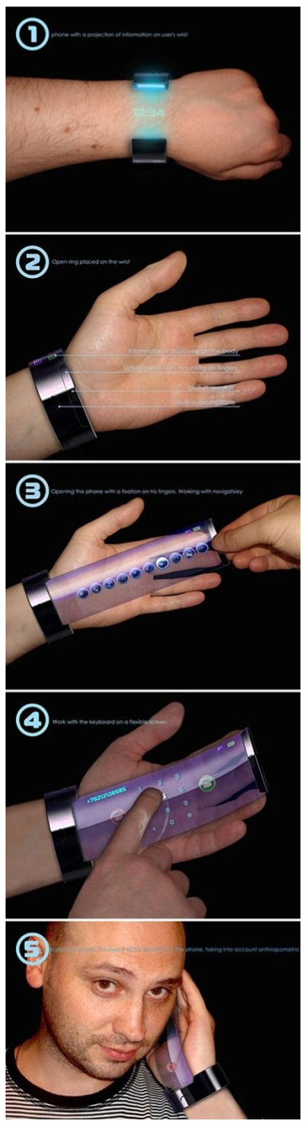 Really a brilliant concept of #wearable cell phones pull out from arm wrist band, starters  for #future that can be much smart than current one's