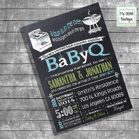 Couples shower invitation Baby Q Shower invite Coed shower invitation boy chalkboard digital invite DIY print your own invitation I13109
