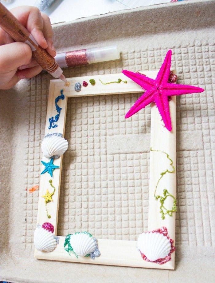 diy ideen bilderrahmen muscheln farbig dekorieren | DIY - Do it ...