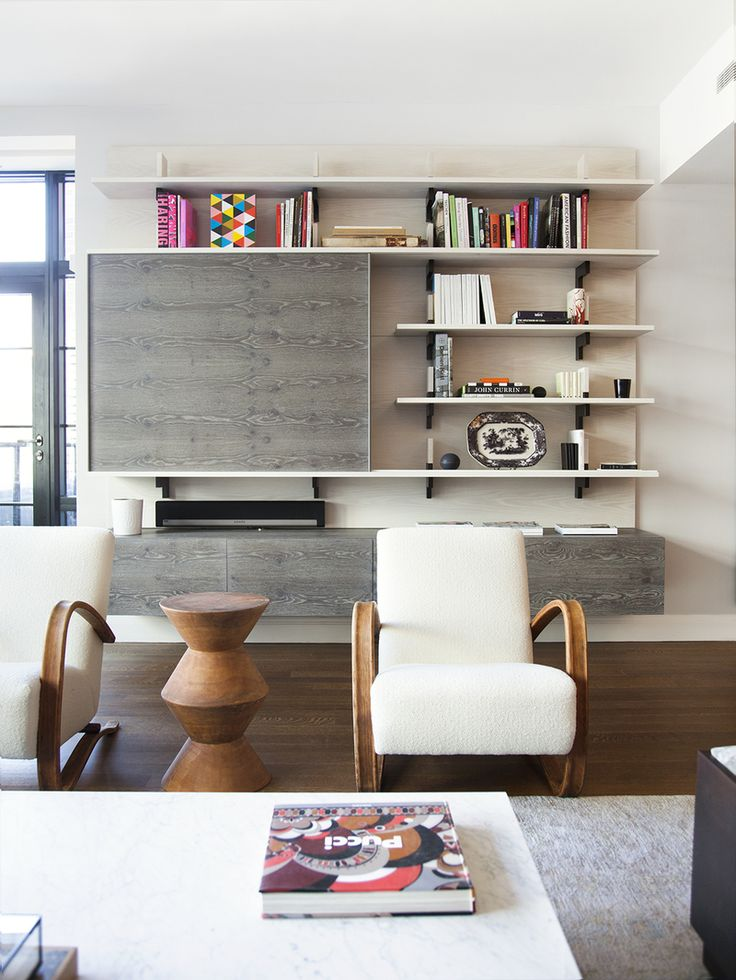 Contemporary Living Room in New York, NY by Ashe   Leandro Great shelves.