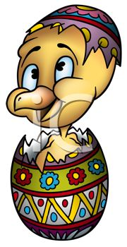 Royalty Free Clipart Image of a Chicken Popping Out of an Easter Egg