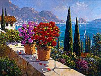 amalfi afternoon with flower pots