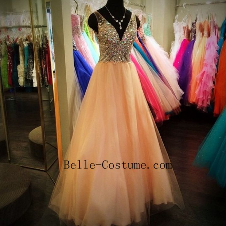 Prom Dress, V Neck Beads Prom Dress, V Neck Evening Dress
