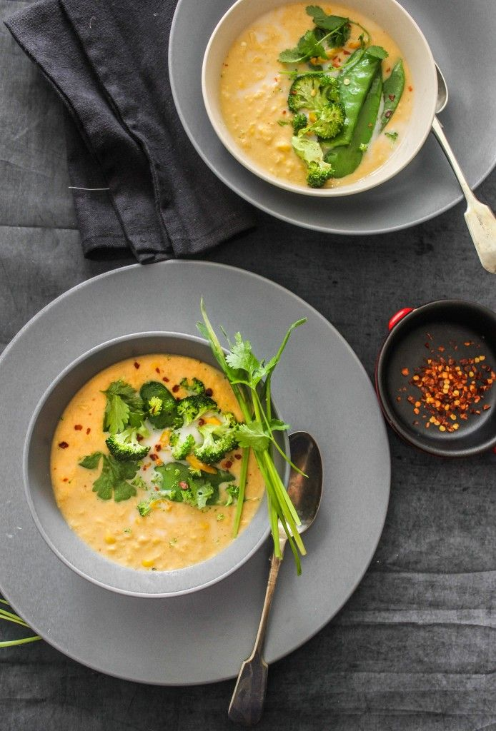 Spicy Thai Corn Soup with Greens