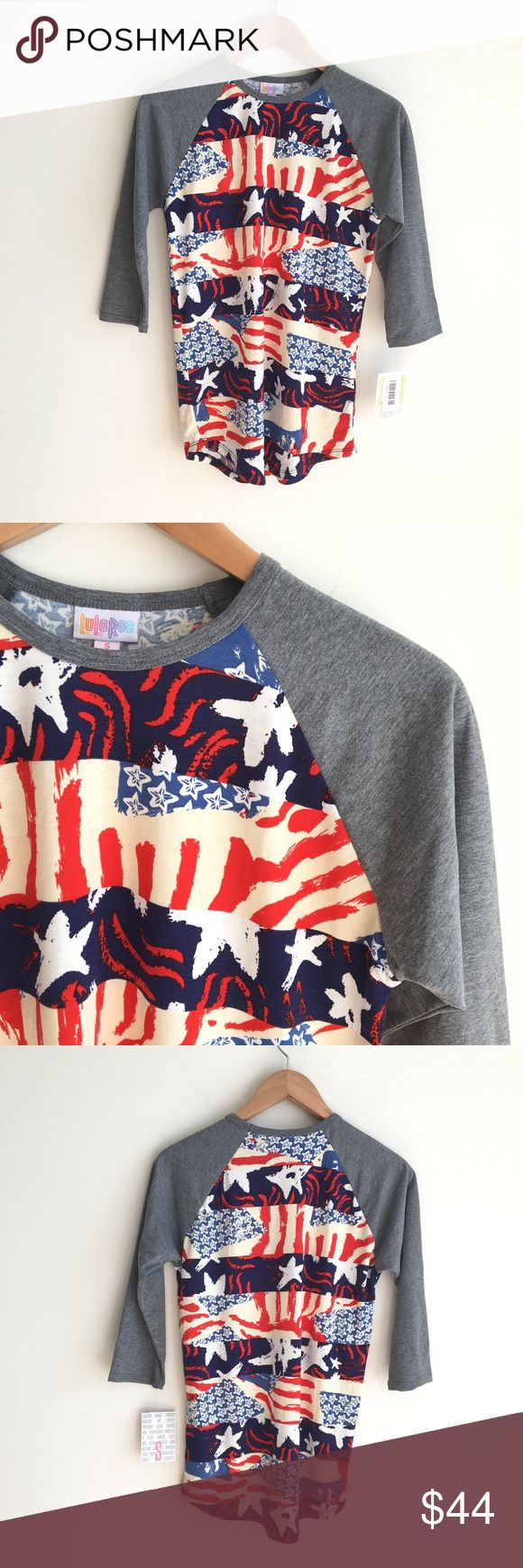 NWT LuLaRoe America Randy Tee Red White Blue 96% polyester, 4% spandex. Baseball style tee with gray sleeves and an Americana themed body of red, white and blue Stars and Stripes. Brand new, with tags attached. LuLaRoe Tops Tees - Long Sleeve