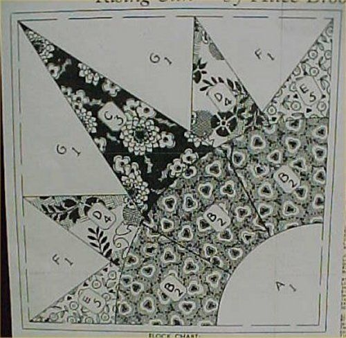Vintage Quilt Pattern Rising SUN Burst 1940s Pieced Mail Order Brooks Pieced