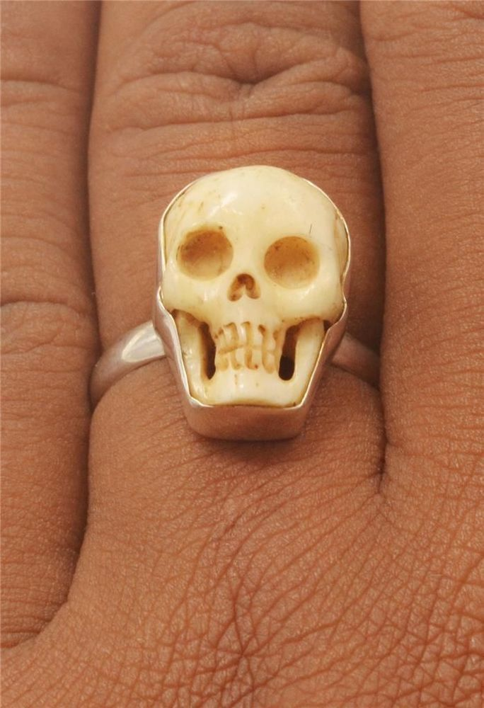 Take look, new ring design from natural buffalo bone using natural tea color by Balinese artist painted