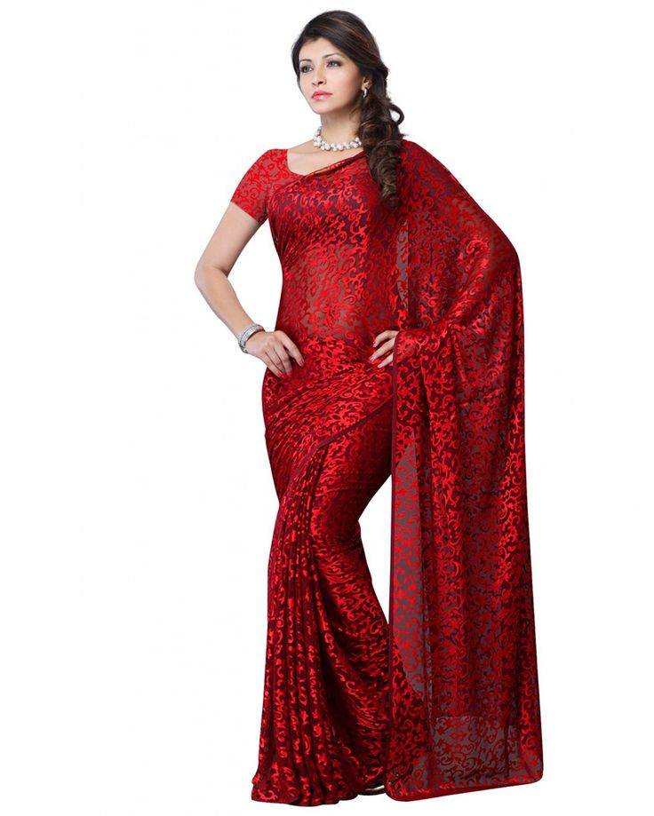 This is a party wear designer saree made from smokked georgette fabric, the saree is crafted with a beautiful embroidered lace border in mango shape. It's an idea