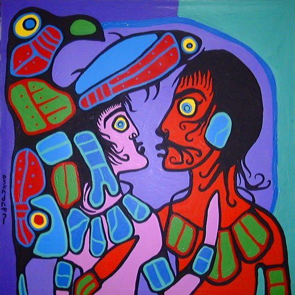 Norval Morriseau (Copper Thunderbird) Grand Shaman of the Ojibwa Nation, 'Conversation'. 1989.