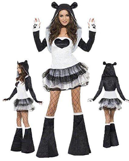 Kostüm Damen Karneval Tier Panda Tutu 'Dress Smiffys 22797* 17526., mehrfarbig
