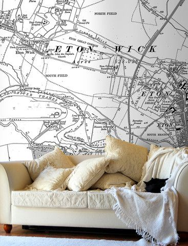 Map Wallpaper - Personalised Vintage Ordnance Survey Map from Love Maps On...
