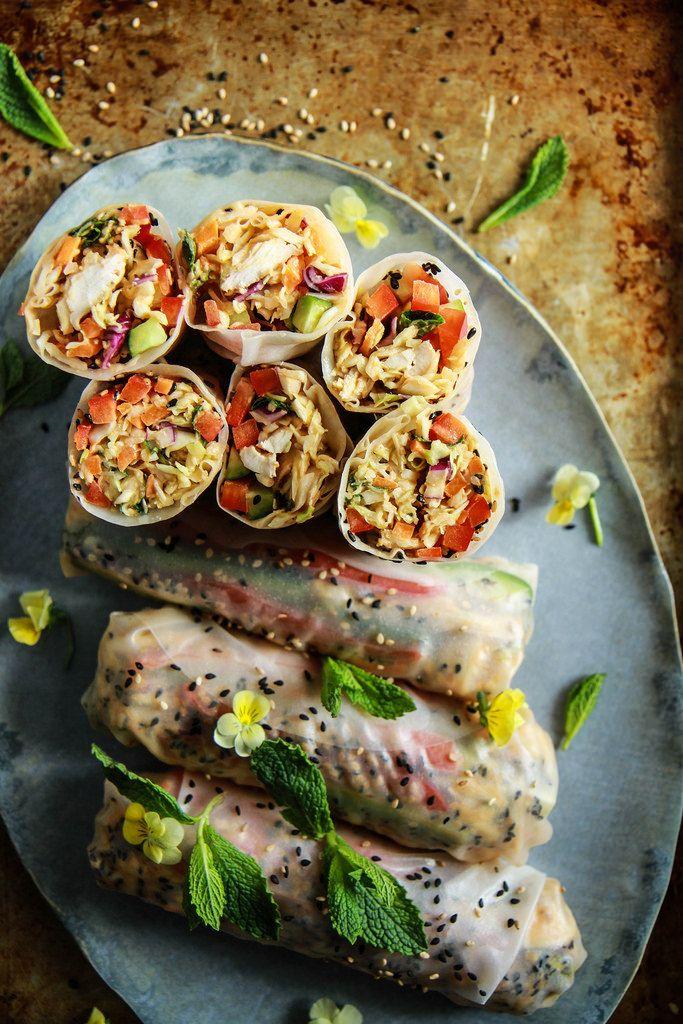Honey Mango Sesame Chicken Salad Fresh Rolls | HeatherChristo.com