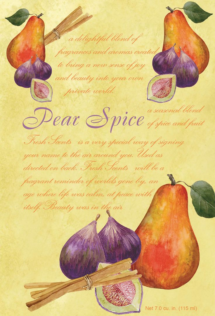 Pear Spice - Spice notes of Cinnamon, Clove and Nutmeg in a Vanilla base with Pear top notes. $2.50