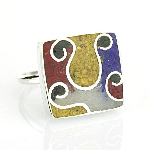 Miró geometric rings Cube rings blue red white yellow ringssquare ring Minimalist Modern Jewelry-Eco friendly by JewelleryAsArt now at http://ift.tt/2ihd8R8
