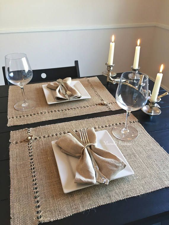 Burlap Placemat  Hand Embroidered Burlap Placemats with Pearl
