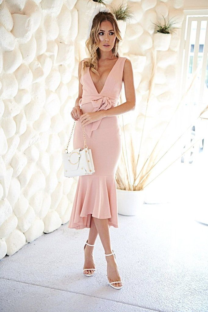 Look perfect! Stretch crepe v neck midi dress with fishtail hem and waist  tie detail! Royale Dress - Blush  a0dd880c4