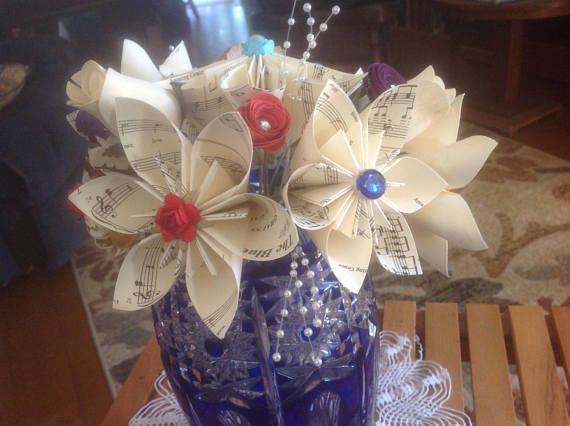 Origami Kusudama Music Flower Bouquet Amazing Grace and Blue