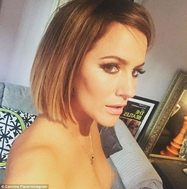 Awkward! Standing topless as she posed for a selfie, Caroline Flack forgot to crop the image and accidentally shared her bare nipple with her 600,000 Instagram followers