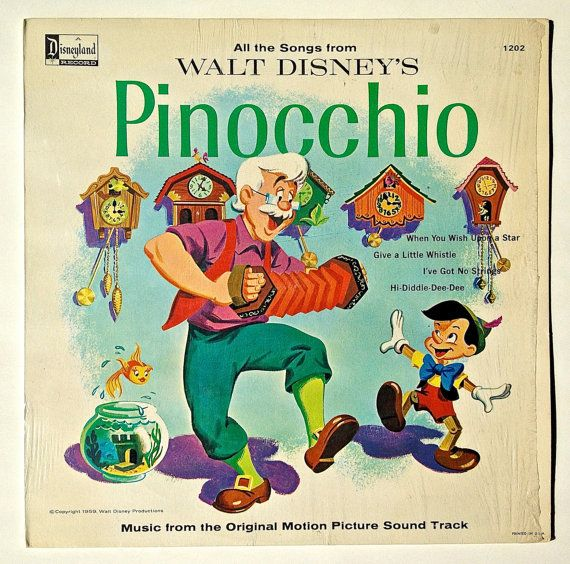 Pinocchio Music From The Original Motion Picture Soundtrack Lp Vinyl Record Album Disneyland 1202 Pop Children S Ori Children S Record Pinocchio Kids Songs
