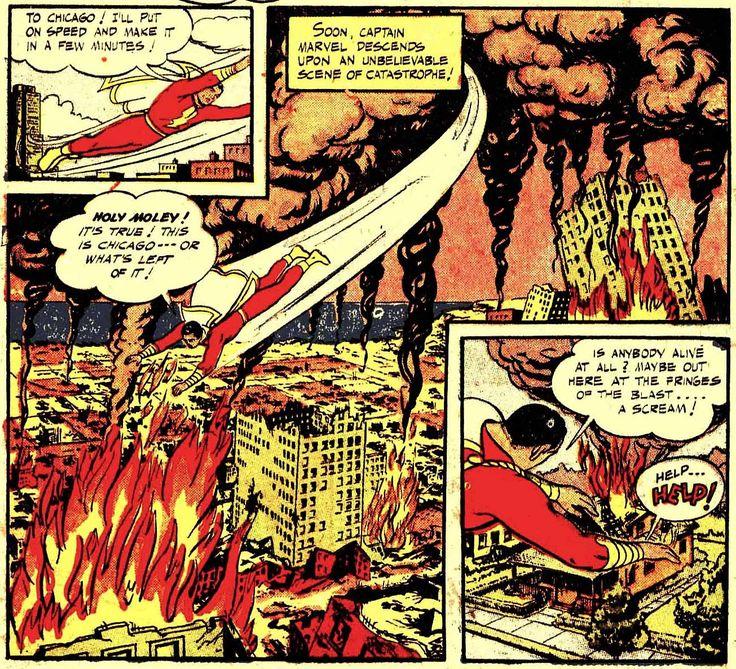 Visiones del apocalipsis II  El Capitán Marvel apareció por primera vez en la revista Whiz Comics, de Fawcett Publications en 1940. Era evidentemente un personaje que plagiaba al exitoso Superman, enfundado en un ceñido traje y con una capa, musculoso, dotado de fuerza sobrehumana y con la capacidad de volar http://varsovia.co/post/160150535976/visiones-del-apocalipsis-ii-los-a%C3%B1os-de-la