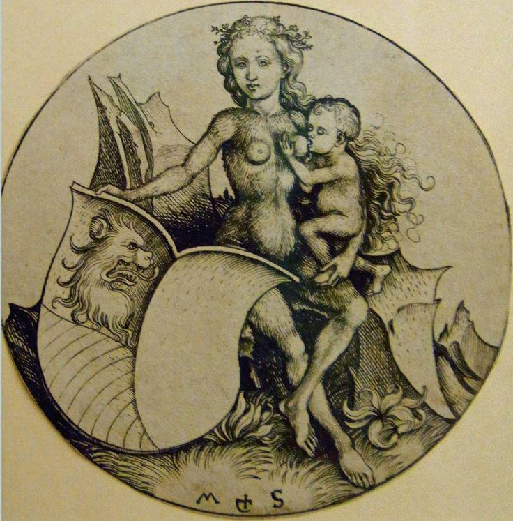 Дикая женщина со щитом - Мартин Шонгауэр. 1490 г.