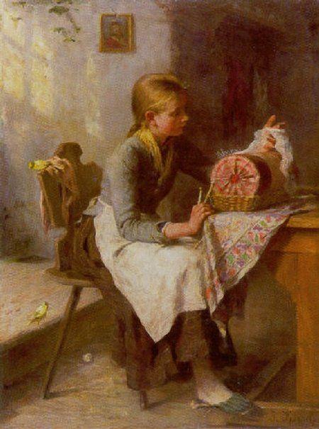 Johanna Kirsch Sächsische Spitzenklöpplerin in der Stube vor einem Klöppelkissen. 1859 г.
