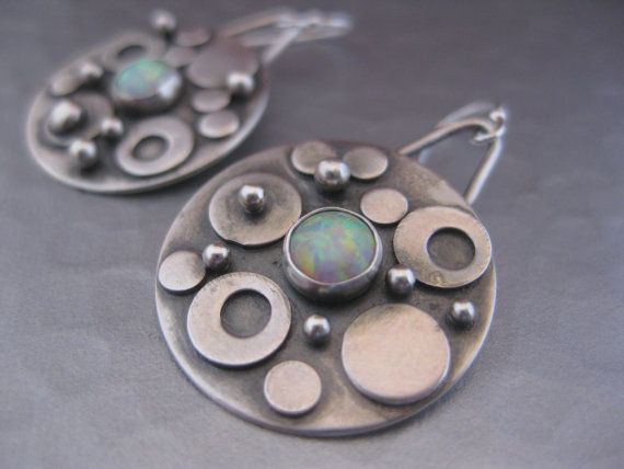 Bubble Earrings.  Sterling silver rounds with Opal. $75.00, via Etsy.