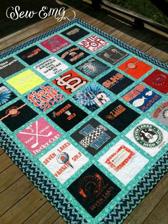 Custom Made TShirt Quilt DEPOSIT ONLY Great Guy or Dad by SewEMG ... : pictures of tshirt quilts - Adamdwight.com