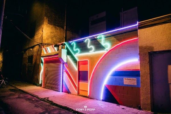 Video Captures Incredible South Philly Mural Lit Up in All Its Neon Glory - Curbed Phillyclockmenumore-arrow : Electric Street aims to bring some life to a crime-riddled street