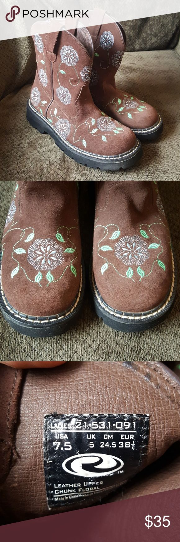 Roper dark brown leather (suede) western boots Leather (suede) chunk floral boots in very good condition.  Height is 7 3/4 inches. No box. Women's size 7 1/2 Roper Shoes Ankle Boots & Booties