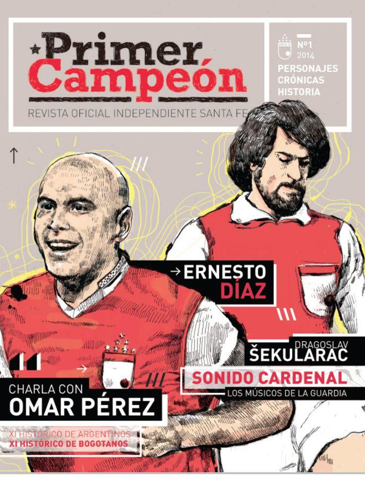 Portada de la primera edición de la revista 'Priemer Campeón', publicación exclusivamente dedicada para el Club Independiente Santa Fe de Bogotá (Colombia). Primer campeón del fútbol profesional colombianos en 1948.