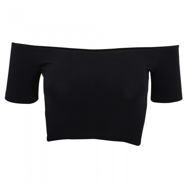 American Apparel Womens/Ladies Cotton Spandex Off-Shoulder Crop Top (1295 DZD) ❤ liked on Polyvore featuring tops, american apparel, form fitting tops, crop top, black crop top and black off shoulder top